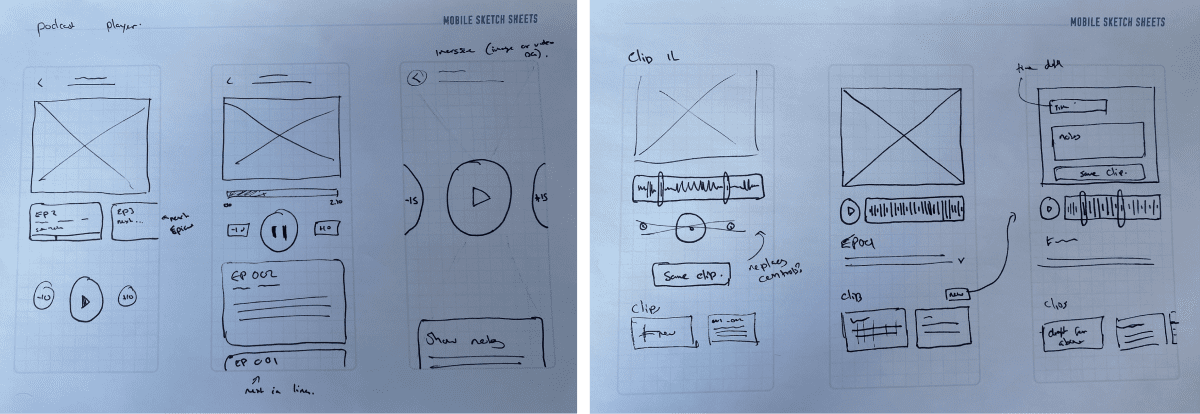 wireframe sketches exploring the idea and how it might work